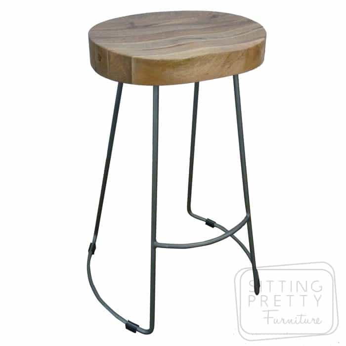 Tractor Wire Stool - Mango Wood/Iron