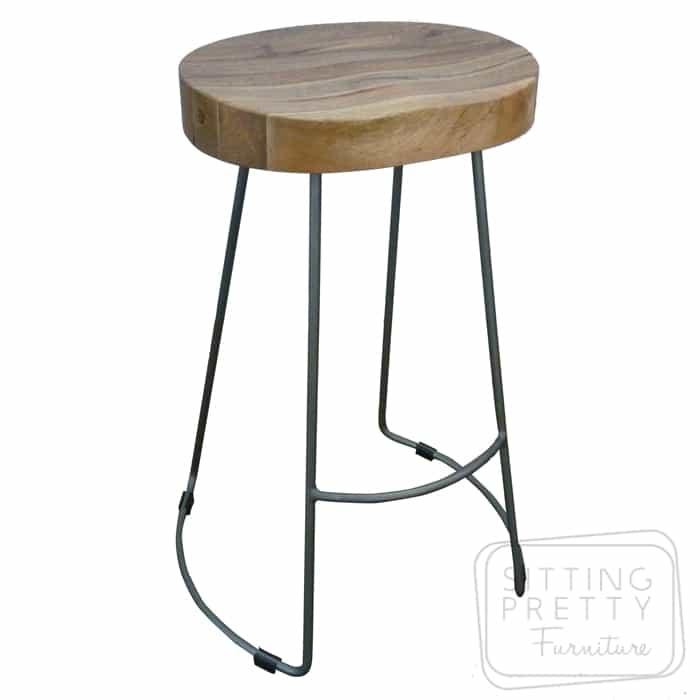 Tractor Wire Stool – Mango Wood/Grey Iron