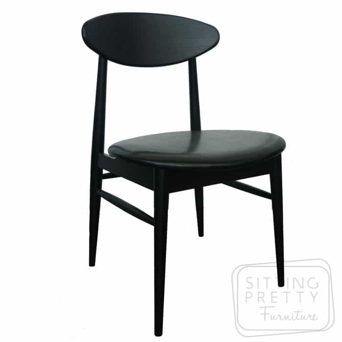 Verve Solid American Oak Chair - Painted Black with PU seat