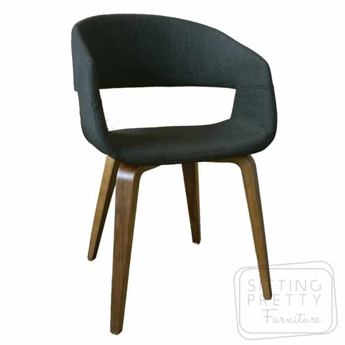 Webster Chair - Charcoal fabric with Walnut Legs