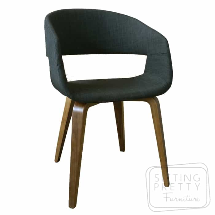 Webster Chair – Charcoal fabric with Oak or Walnut Legs