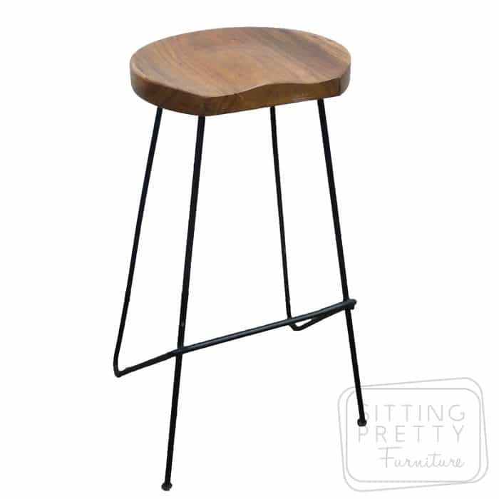 Tractor Wire Stool 75cm - Natural Seat