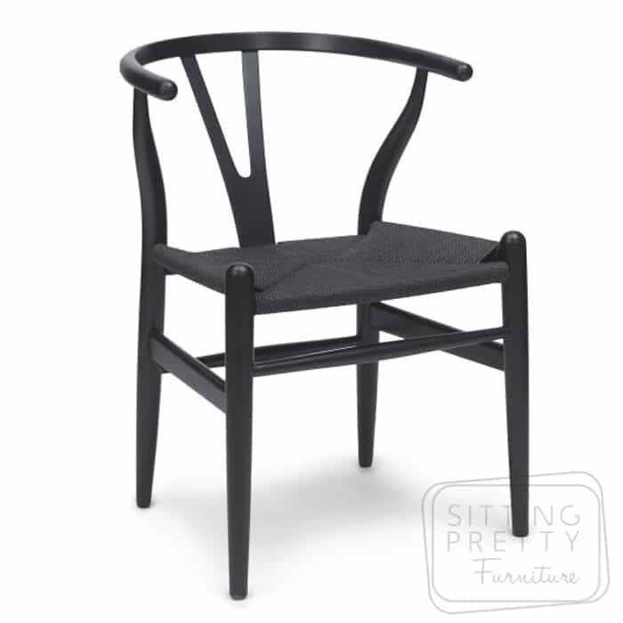 Replica Hans Wegner Wishbone chair - all black - DUE LATE APRIL