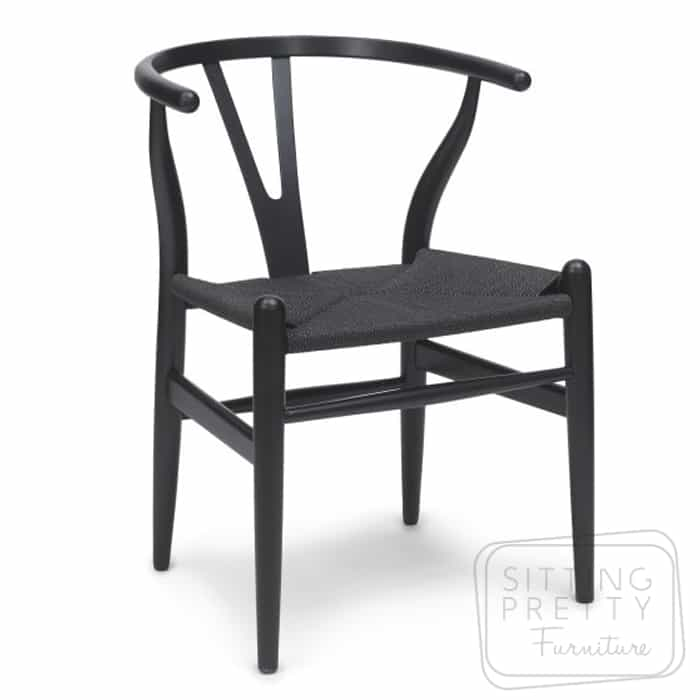 Replica Hans Wegner Wishbone chair - all black - DUE LATE APRIL