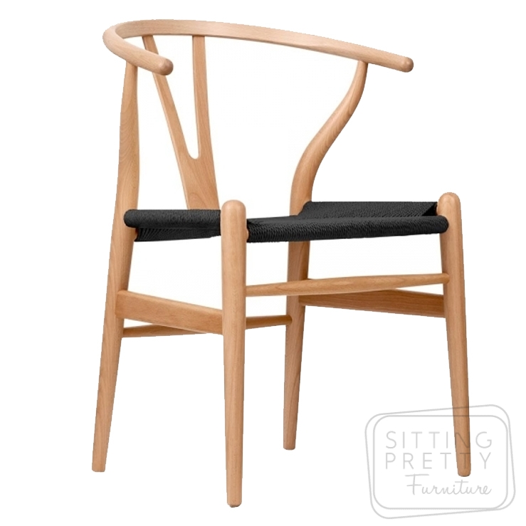 Replica Hans Wegner Wishbone chair – Natural Frame/Black Seat