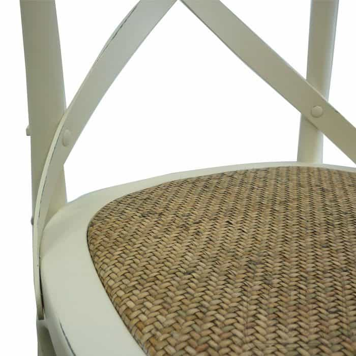 Bella Cross Back Oak Chair - White
