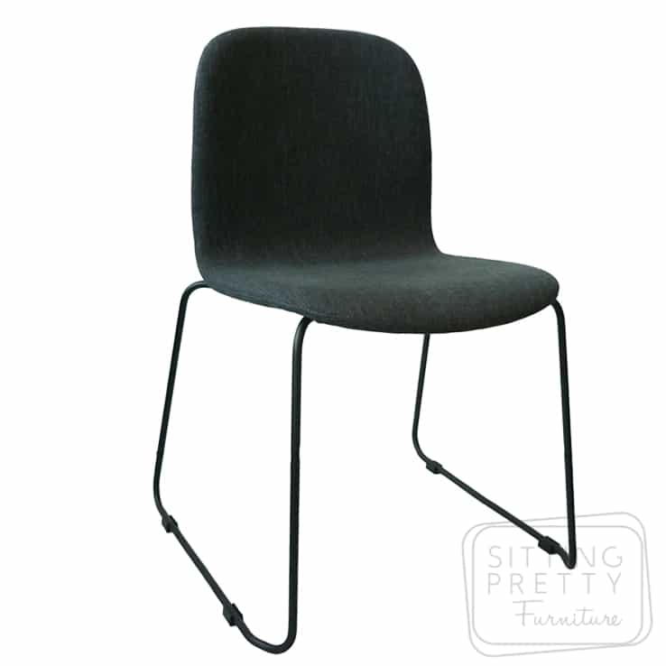 Milan Stackable Chair – Charcoal Fabric – ALMOST GONE