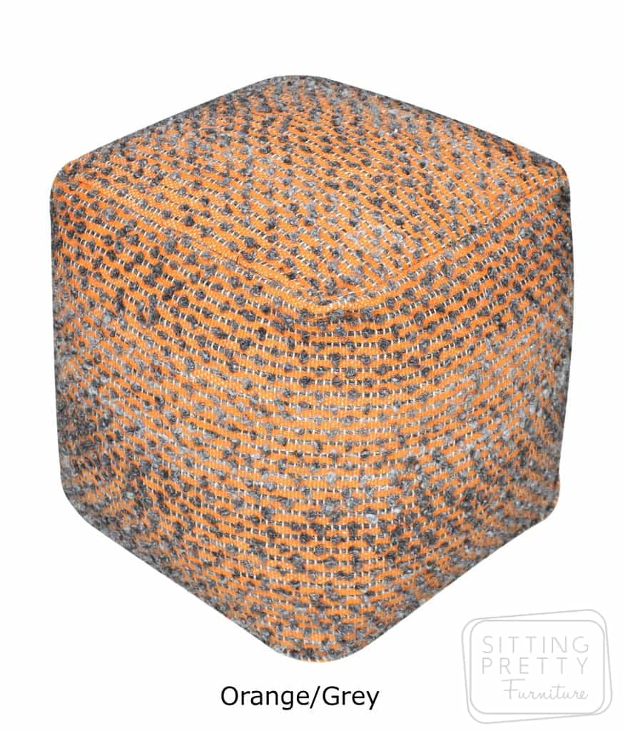 Acacia Pouffe – Orange/Grey