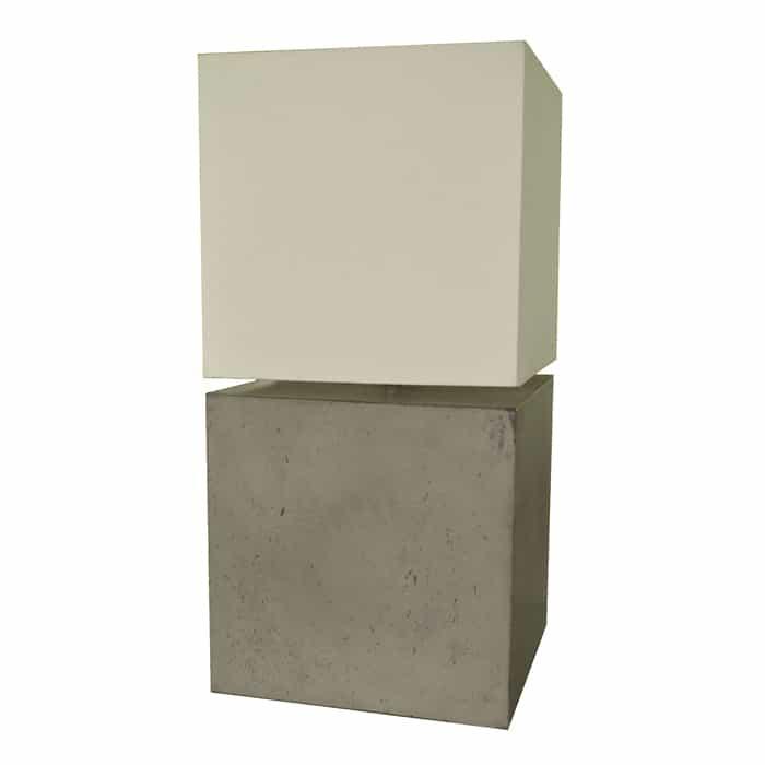 Cubix Concrete Lamp with Linen Shade