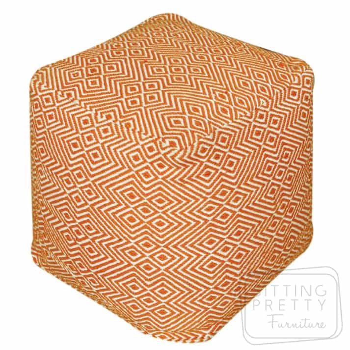Martos Pouffe – Orange/White