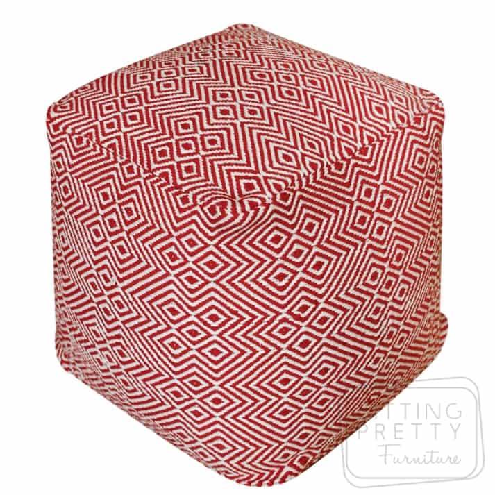 Martos Pouffe – Red/White
