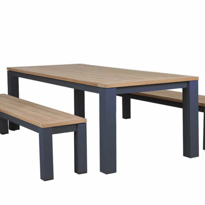 Clay Charcoal Aluminium/Teak Table – 220cm (Table Only) – ALMOST GONE