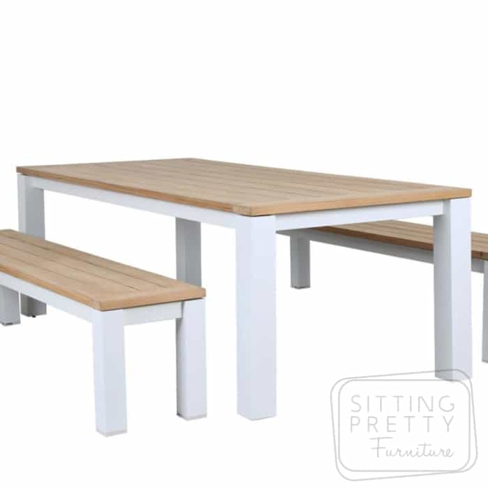 Clay White Aluminium/Teak Table – 220cm (Table Only) – ALMOST GONE