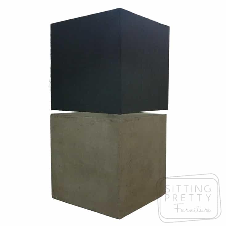 Cubix Concrete Lamp with Black Shade
