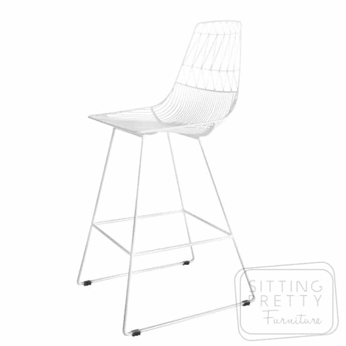 Replica Lucy Bend Stool – White with removable seat pad – 75cm seat height – ALMOST GONE