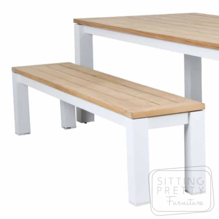 Clay White Aluminium/Teak Bench – 194cm