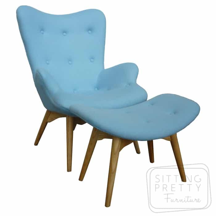 Replica Featherston & Footstool – Powder Blue