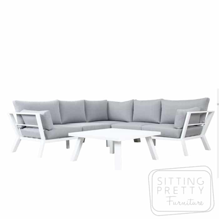 Lima Outdoor Aluminium Lounge Set – Matte White