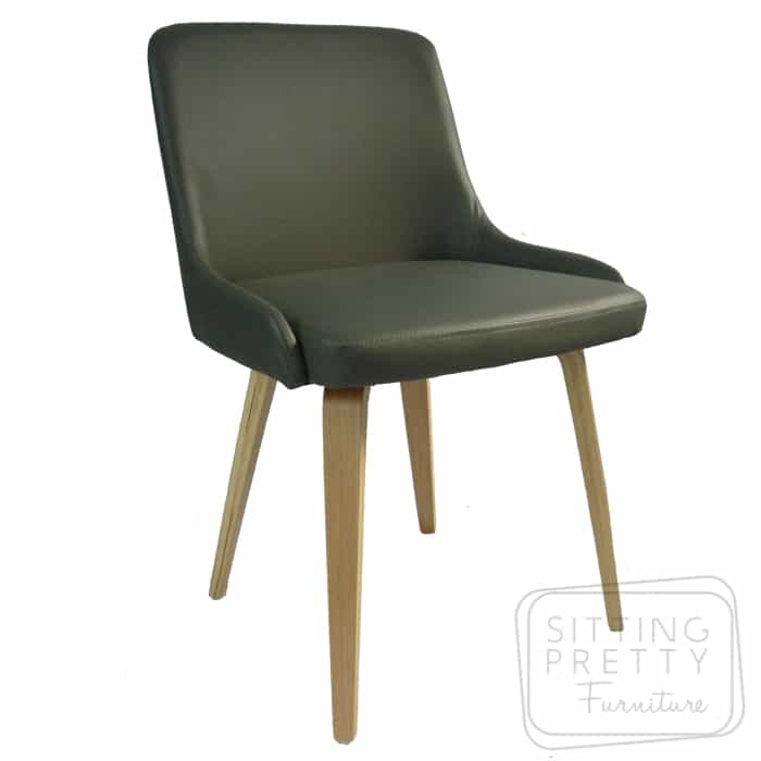 Atlas Chair – Grey PU with Oak or Walnut Legs