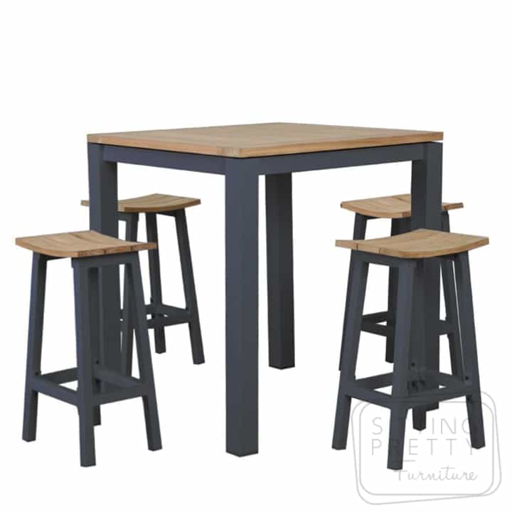 Clay Charcoal Aluminium/Teak Bar Table (Table Only)