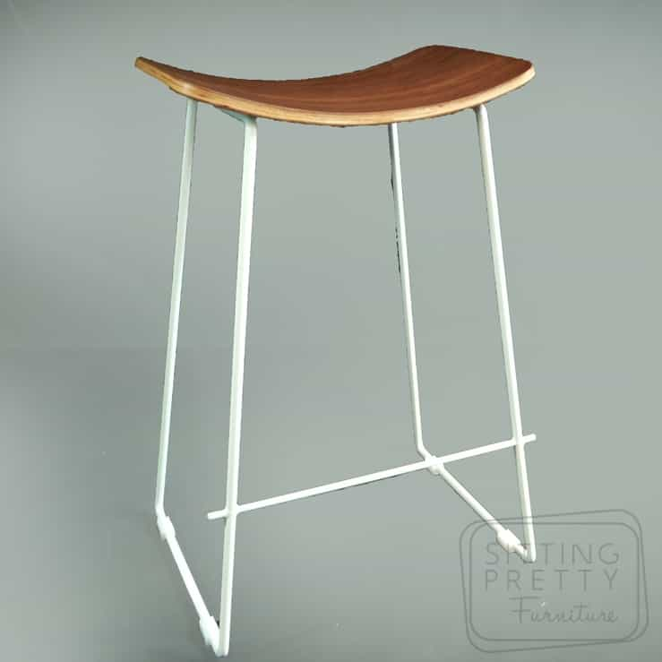 Replica Potter Counter Stool – Walnut plywood seat with white legs