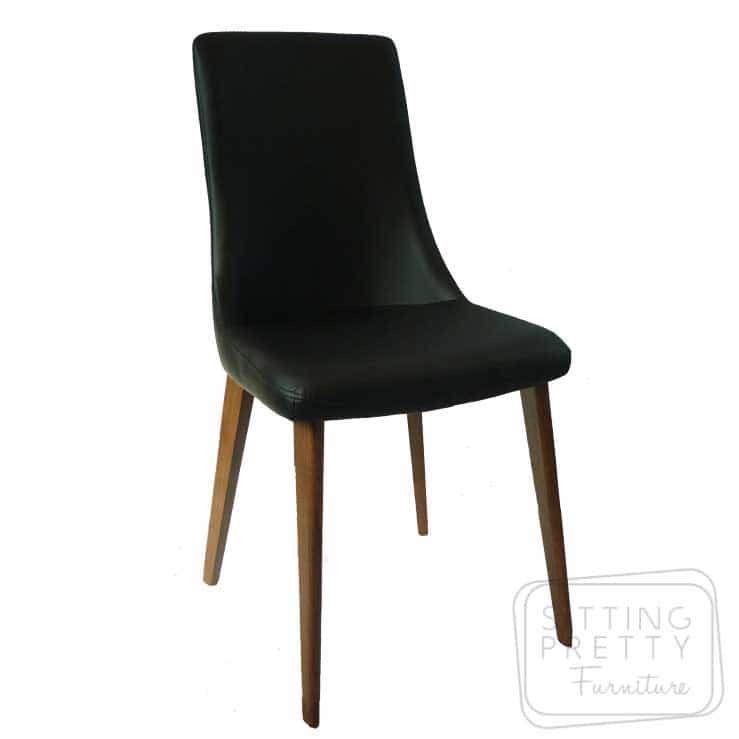 Cayman Chair – Black PU with walnut legs