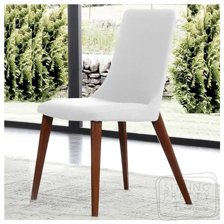 Cayman Chair – White PU with walnut legs