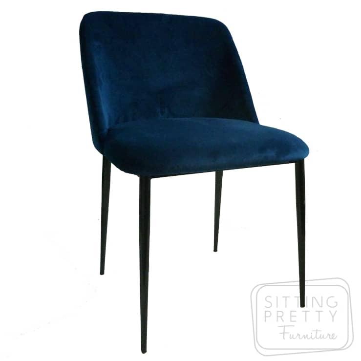 Piper Velvet Chair – Peacock Blue
