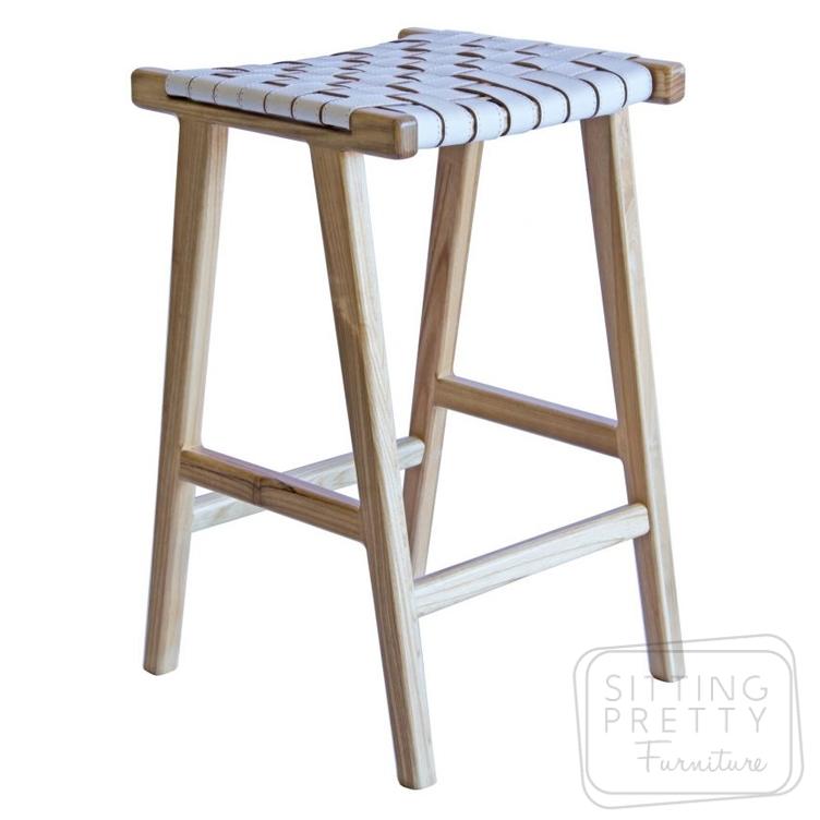 Lefroy Stool – white seat/white wash legs