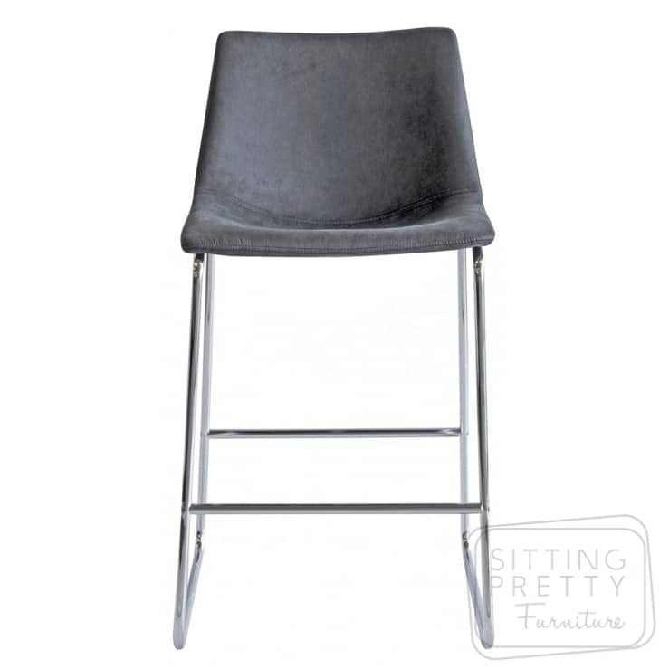 Bridge Stool – Faux Charcoal Suede with Chrome Legs