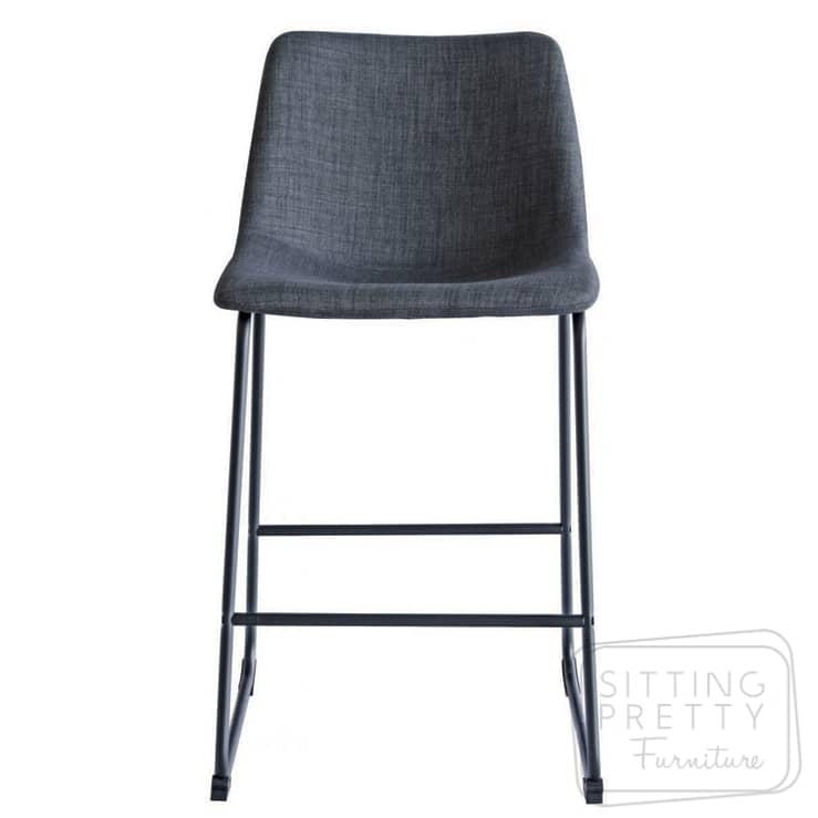 Bridge Stool – Grey Fabric with Black Legs