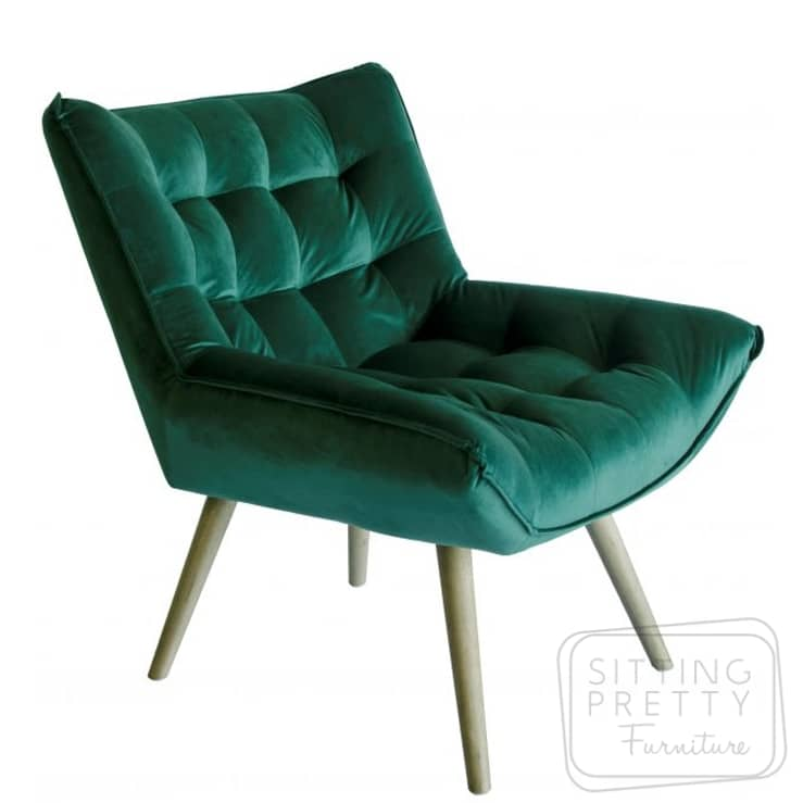 Bronti Velvet Chair – Green