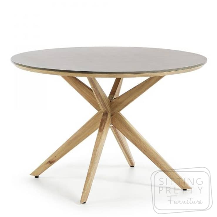 Foundry Superstone Table with Timber Legs – 120cm Ø – DUE LATE SEP