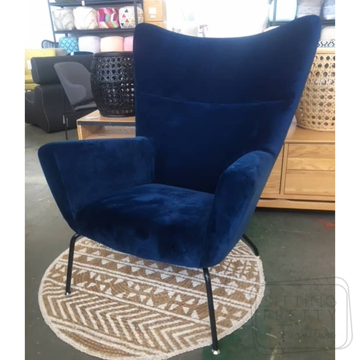 Swell Replica Wegner Wingback Chair Peacock Blue Velvet Two Left Machost Co Dining Chair Design Ideas Machostcouk