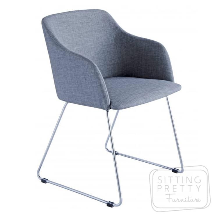 Ocean Chair – Light Grey Fabric/Chrome Legs