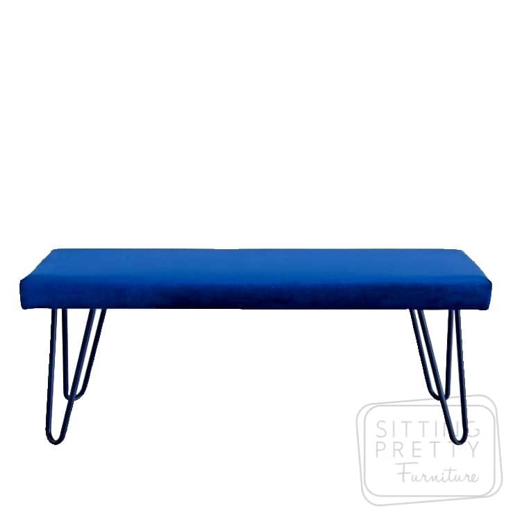 Rome Velvet Bench – Blue