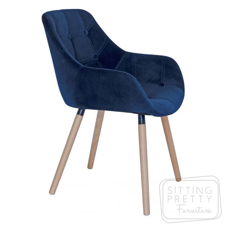Magnum Chair – Blue Velvet with Walnut or Ash Legs