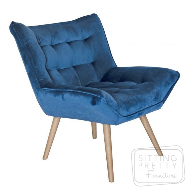 Bronti Velvet Chair – Blue