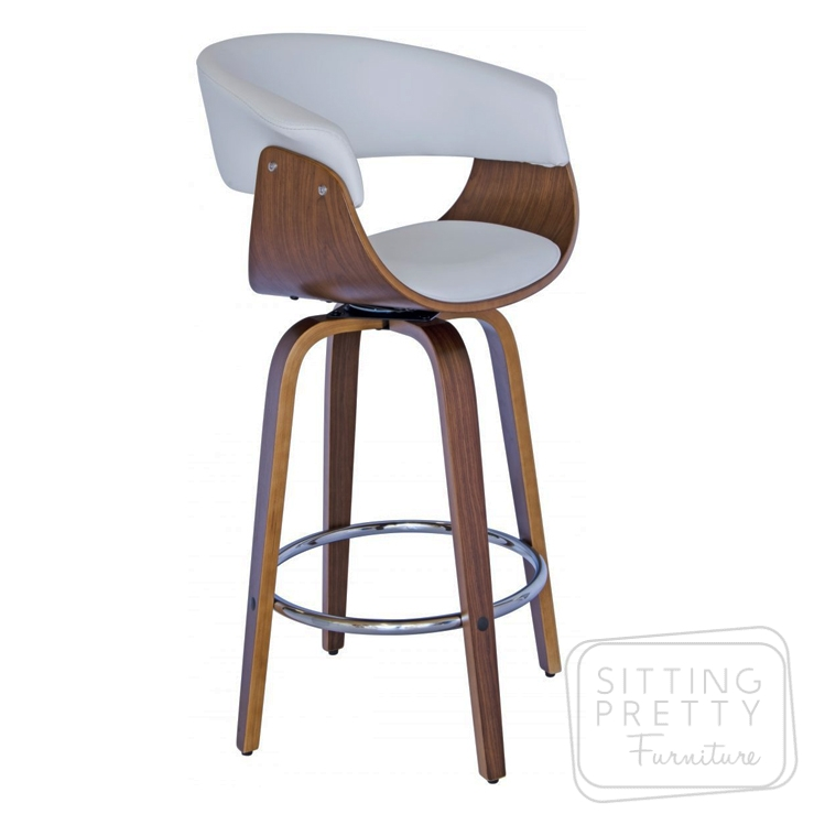 James Swivel Stool – Walnut/White PU