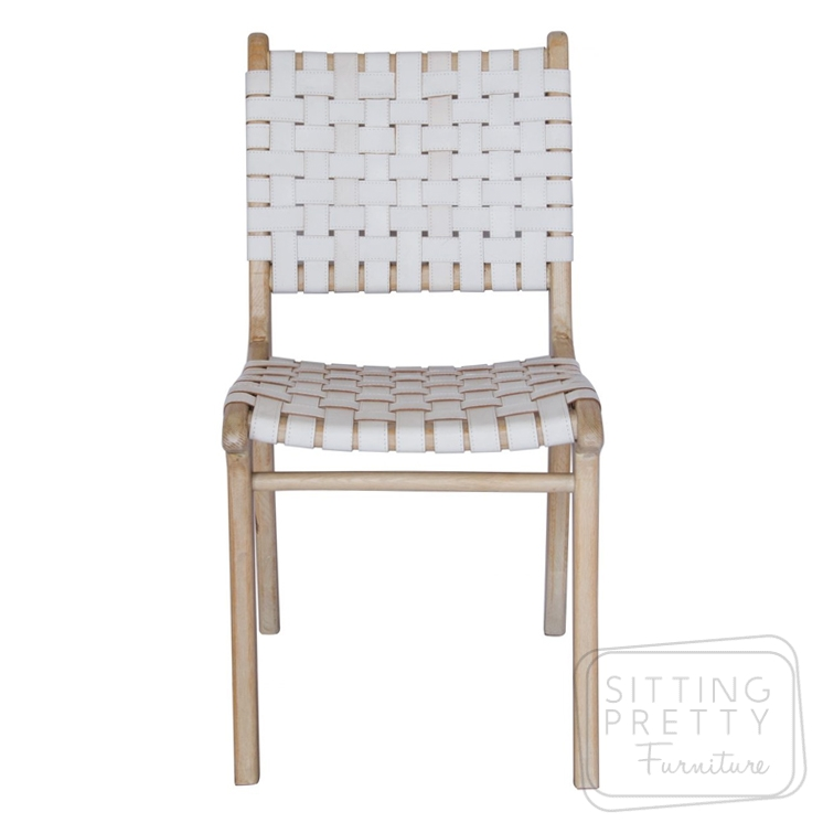 Lefroy Chair – white leather strapping – THREE LEFT