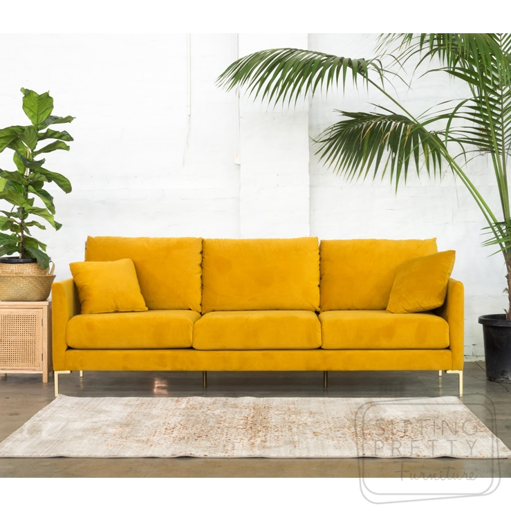 Bella Three Seater Lounge – Turmeric Velvet with Gold Legs
