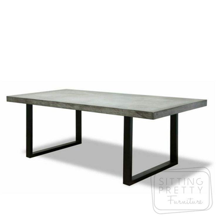 Casa Concrete Table – Grey/Black – 220 x 100cm