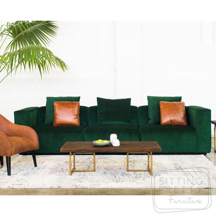 Conrad Three Seater Lounge – Magma Green