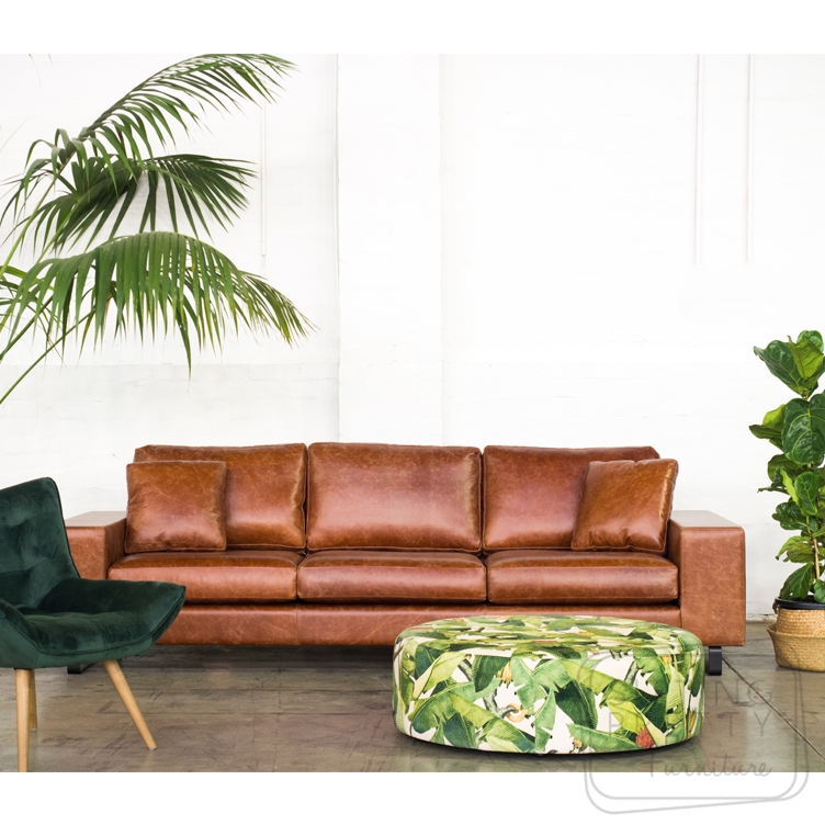 Delta Three Seater Leather Lounge