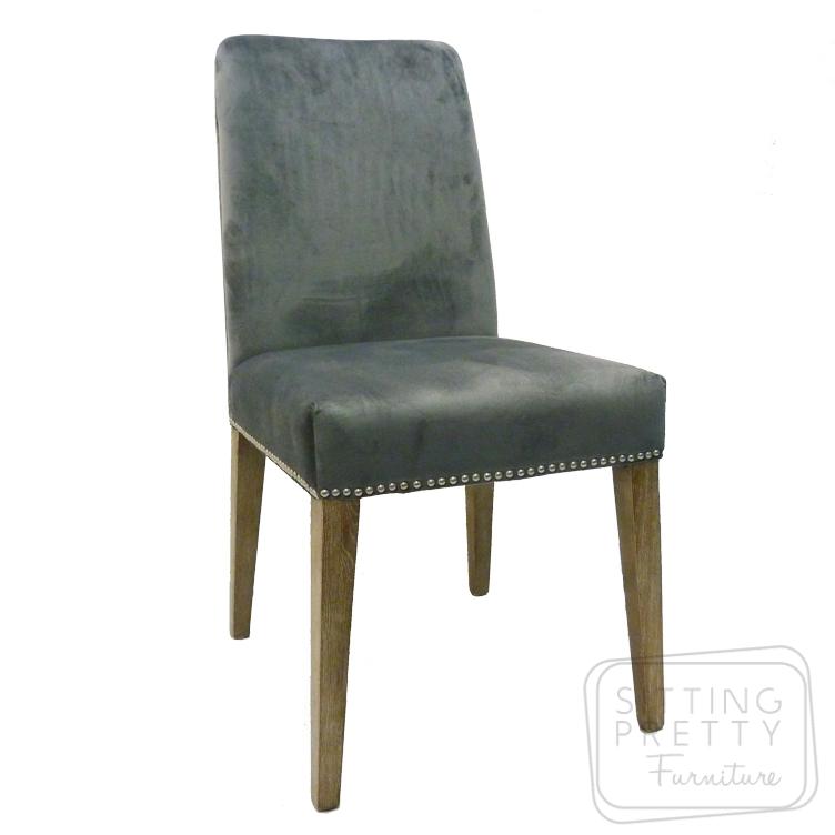 Miranda Velvet Chair – Frost Grey
