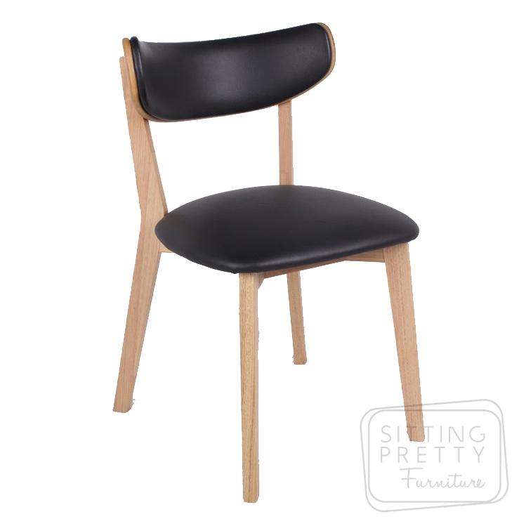 Oska Australian Messmate Chair – Black PU seat