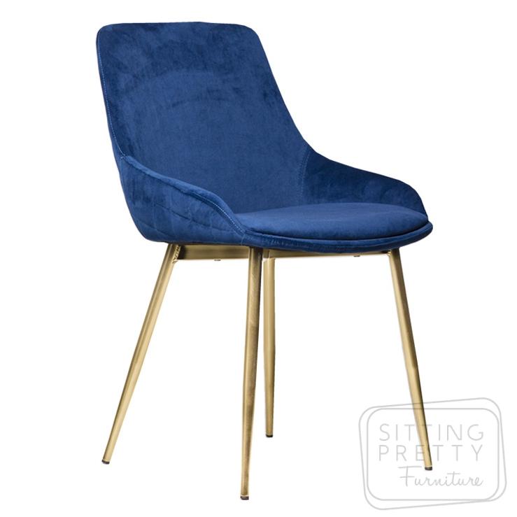 Tilley Chair – Blue Velvet/Bronze Leg