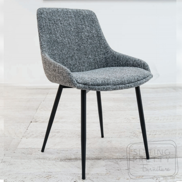 Tilley Chair – Grey tweed fabric with black leg – DUE MID AUG