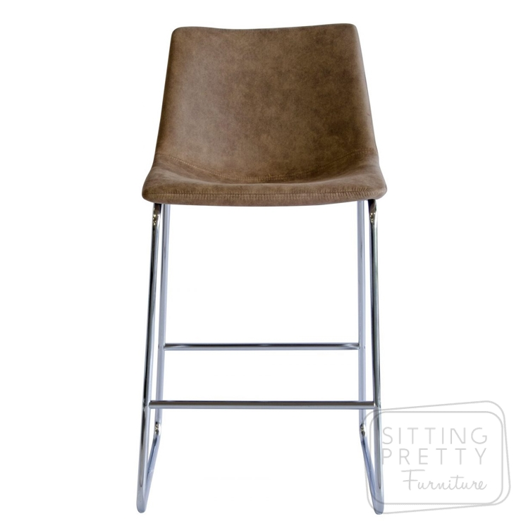 Bridge Stool – Faux Brown Suede with Chrome Legs