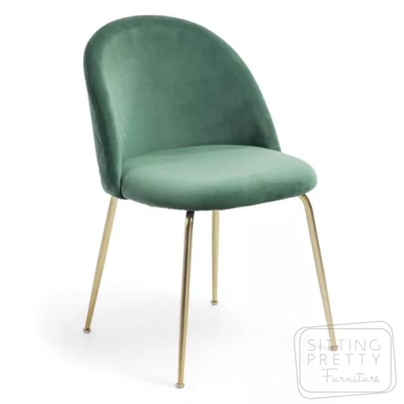 Mystere Velvet Chair – Moss Green with Gold Legs by LaForma